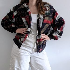 Vintage 1980's Bomber Jacket with Baroque Design
